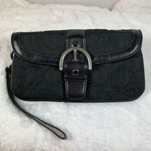 Coach Black Wristlet Zippered Top Satin Interior